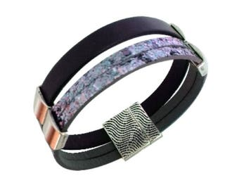 Purple Leather, leather and metal magnetic clasp bracelet Cuff Bracelet