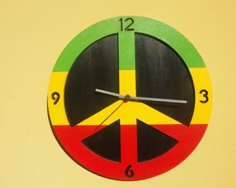 """""""PACE-Reggae"""" watch-hand painted wooden watch"""