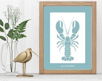 Print crustacean Design - Lobster minimalist 30x40cm