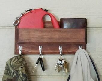 mahogany entryway organizer wall mounted floating shelf mail storage key rack and hat rack storage hanger