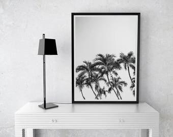 Palm Trees Print-California Wall Art-Black And White Palm-Instant download-Tropical Photo-Coastal Decor-Modern Wall Art-Boho decor-Minimal
