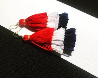 Patriotic Coco Three Tier Red, White & Blue Tassel Earrings - Handmade Tassel Earrings, American Tiered Tassel Earrings