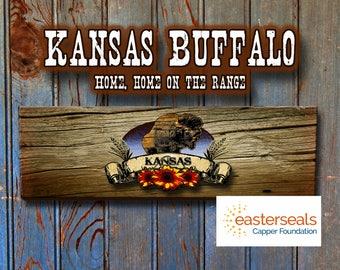 Kansas Buffalo, wood sign.