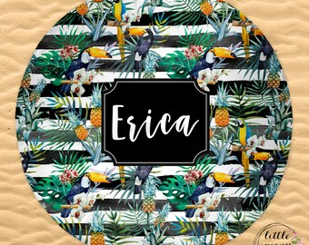 Round Beach Towel Pineapple Tropical Print Personalized with Name or Monogram - 60in Round Beach Towel