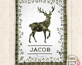 Personalized Deer Minky Baby Blanket - Receiving Blanket Birthday Gift with Tartan Deer Plaid Print - 30x40, 50x60, 60x80