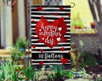 Personalized Valentines Day Garden Flag - Fun Hearts and Stripes Names Yard Flag