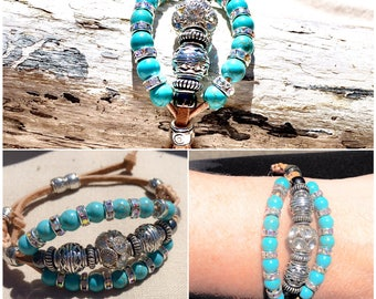 Tan Leather adjustable bracelet with bling, silver, and turquoise colored beads