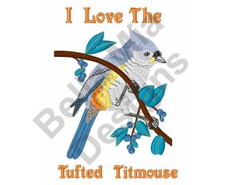 Bird - Machine Embroidery Design, Tufted Titmouse