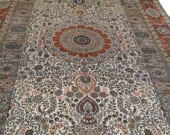 Collectible Pure Handmade Silk Persian Rug 5 x 8 ft (152 x 243cm)  16knots/cm (1735kpsi)