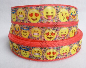 """SALE Fun Emoji Smiley Face on 7/8"""" Grosgrain Ribbon by the yard. Choose 3, 5, or 10 yards.  Smileys used in electronic messages."""