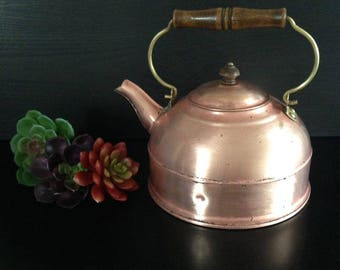 Vintage Revere Ware Copper Kettle with Wood Handle
