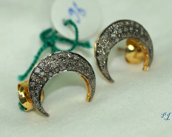 Victorian-style 2.10cts rose cut diamond crescent moon sterlings silver gold plated earrings studs - 2651722