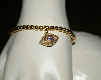 Boho Style ruby 1.20 cts pave diamonds sapphire yellow gold rhodium sterling silver evil eye bead ball Bracelet stackable jewelry