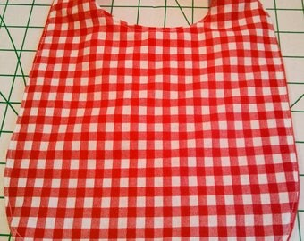 Very absorbant handmade baby bib with convenient velcro fasteners. Rockabilly retro Gingham red girls and boys.
