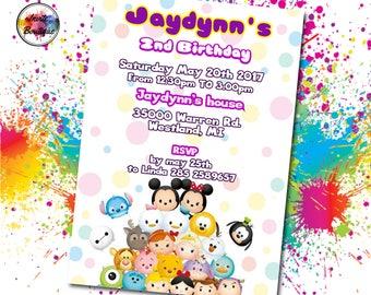 Tsum Tsum Invitation, Tsum Tsum Invite, Tsum Tsum Birthday, Tsum Tsum Party, Tsum Tsum PDF, Tsum Tsum Digital, Tsum Tsum Disney,  IB 005