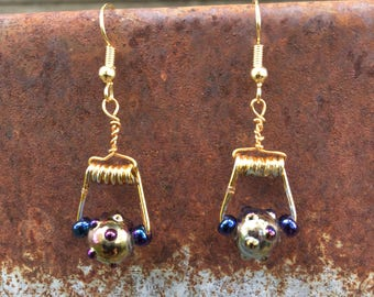 Mini Gold Clothespin Earring With Blown Glass Beads