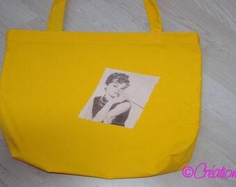 Tote Bag / Tote / beach bag 100% cotton Yellow Sun printed Audrey Hepburn