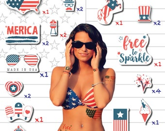 America Day - 4th of July Temporary Tattoos - Set of 24 Tattoos