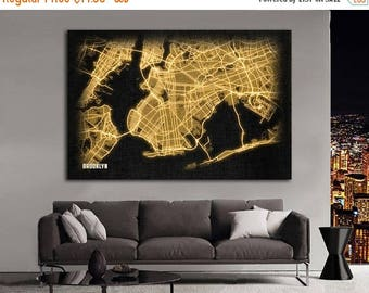 SALE 28% BROOKLYN New York City Night Lights Map Large Horizontal Wall Art Map Brooklyn NYC Modern Art Neon City Street Map of Brooklyn Nlm