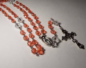 Handmade Catholic Rosary Pink Coral Personalized