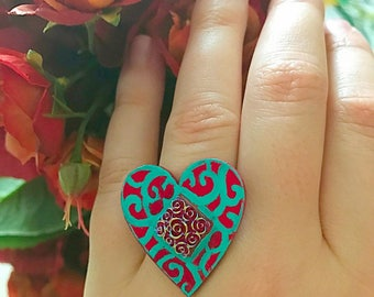 Teal and Red Heart Ring