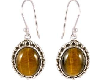 Tiger eye stone 92.5 sterling silver earring