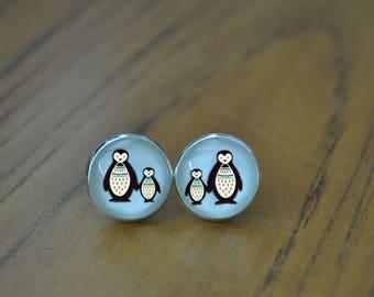 Penguin Couple Earrings - Penguin Earrings, Small Gift Ideas, Birthday Present, Cartoon Penguin Jewelry, Penguin Studs - Penguin Lover Gifts