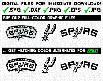 SAN ANTONIO SPURS svg logo 5 file formats (svg, dxf, png, eps, jpg) download instantly!! image vector clipart files for cricut silhouette