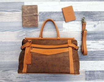 Genuine Leather vintage style Travel bag weekend Bag retro style UNISEX