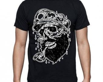 Mens Skull Sailor Pirate - Black T-shirt