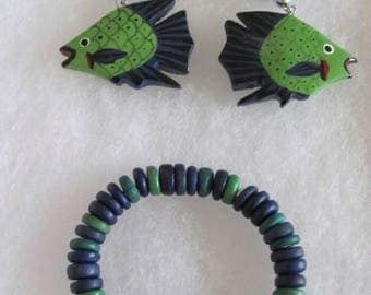 Blue and Green Fish Bracelet and Earrings Set