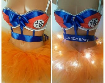 Made to order goku rave costume bra plus light up full tutu