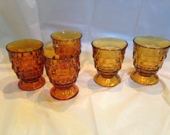 Whitehall Amber Footed Tumblers