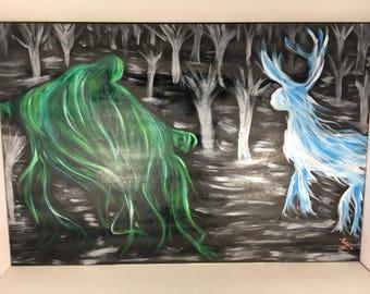Harry Potter Dementor/Patronus Acrylic Painting