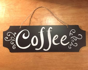 coffee sign, Coffee, Hand lettered Chalkboard Sign, kitchen, script, calligraphy, decor, home
