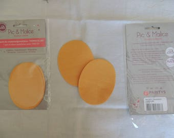 1 pair of elbow/knee pads on yellow-orange clothing