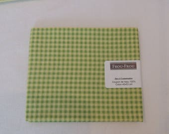 Fabric cotton green and yellow gingham patch