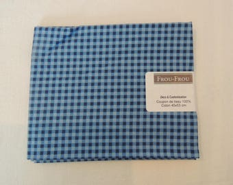 Cotton fabric Navy Blue and light blue gingham patch