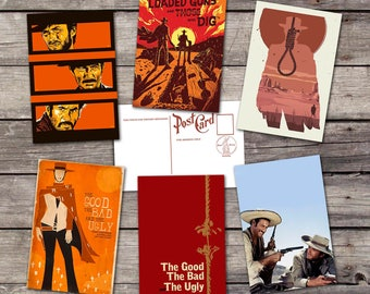 The Good the Bad and the Ugly set 6 postcards | clint eastwood | movie art poster | film art print | vintage cinema poster| PaperBunnyShop