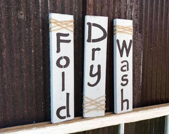 Rustic Wash, Dry, and Fold wall decor (set of 3)