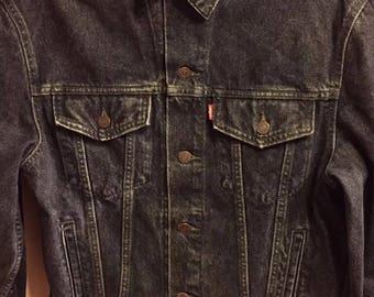 """Vintage Levi's Jacket Stonewashed Black 1980s Size Uk (L) (40"""") Style 70503 02"""