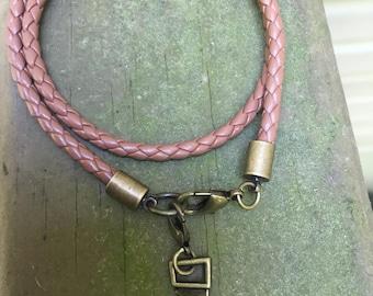 Mens genuine braided leather wrap bracelet with saw charm