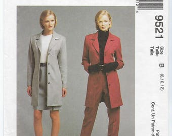 McCalls 9521 (B) - MISSES Lined Jacket, Skirt & Pants / Sizes 8, 10, 12