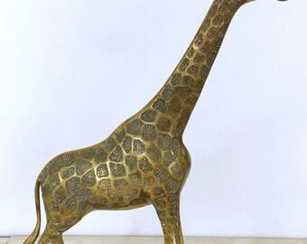 """Brass Giraffe large 17"""" Brass color Gold Statue / Brass Animal Decor figurine African Safari Giraffe"""