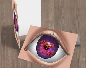 An Eye painting, An Eye greeting card, Carpe Diem Postcard, Fire greeting card, Giclee Print, Home Decor, Wall Decor, greeting card set