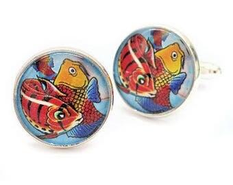 Striped Orange Koi Carp Fish Bronze or Silver Colour Setting Available