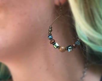 Bohemian Bead Hoop Earrings/ Hoop Earrings/ beaded earrings/ antique bohemian hoops