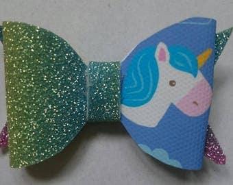 "2.5"" unicorn mini hair bows/fringe clips"