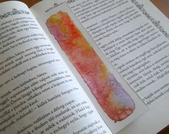 Orange and pink watercolor original art unique bookmark, book lover gift