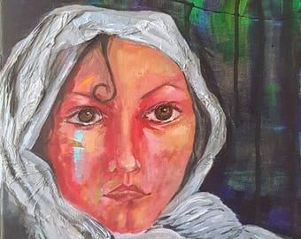 "Original Mixed Media Painting ""The Watcher"""